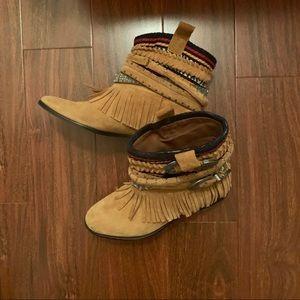 Zara Fringe Boots, Size 37